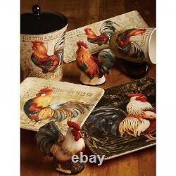 16-Pc Rooster Dinnerware Set, Colorful Ceramic Farmhouse Dishware, Square Plates