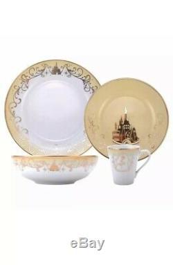 16 Piece Disney Princess Porcelain Ceramic Gold Detail Dinnerware Plate Bowl Cup