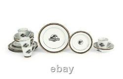 16 Piece Jurassic Park Ceramic Gold Detail Dinnerware Plate Bowl Cup