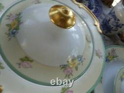 1960's Green floral dinnerware set- 89 pieces
