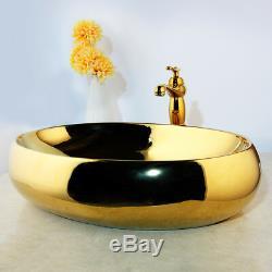 19 Oval Gold Ceramic Lavatory Vessel Sinks Basin Bowl Mixer Faucet Pop Drain
