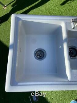 1 1/2 bowl White Lamont Ceramic Kitchen Sink- Reversible Left or Right Drainer