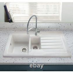 1.5 Bowl Inset White Ceramic Kitchen Sink with Reversible Drainer Alexandra