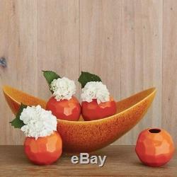 20 Swoop Bowl Ceramic Handmade Orange Reactive Glaze Large Round Best Selling