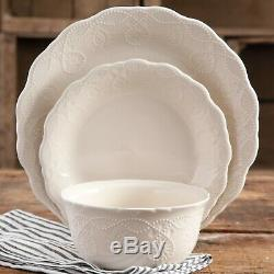 24-PC Elegant Dinnerware Embossed Lace Set, Dishes Plates and Bowls, Linen Color