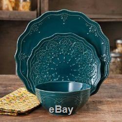 24-PC Elegant Dinnerware Farmhouse Lace Festive Set, Dishes Plates & Bowls, Teal