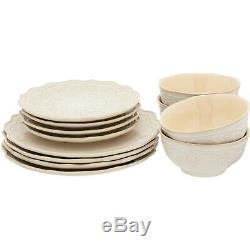 24-PC Elegant Dinnerware Farmhouse Lace Set, Dishes Plates & Bowls, Linen Color