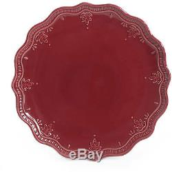 24-Piece Elegant Dinnerware Farmhouse Lace Set, Dishes Plates & Bowls, Burgundi