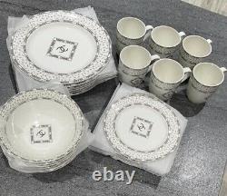 24 Pieces Crockery Tableware Set Dinner Dessert Plates Bowls Mugs