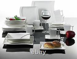 30PC Complete Dinner Set Square Plates Bowls Cups Saucer Dish Ceramic Dining Set