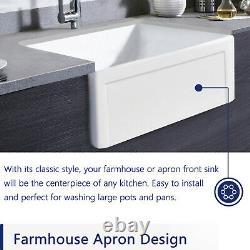 30 L x 20W White Ceramic Rectangle Single Bowl Farmhouse Apron kitchen Sink