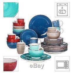 32Pc Dinner Set Plates Mugs Bowls Ceramic Multi Colour Crockery Dining Set for 8