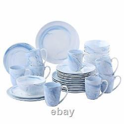 32 Piece Round Dinner Set Ceramic Porcelain Stoneware Crockery Dinning Set Blue