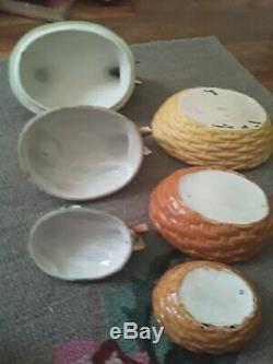 3 Vintage Nesting Chicken Hen Dishes Bowls Staffordshire Baking Thanksgiving