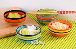 3 x Colored CERAMIC bowls / CEREAL BREAKFAST dessert bowls / 15cm, 600 ML