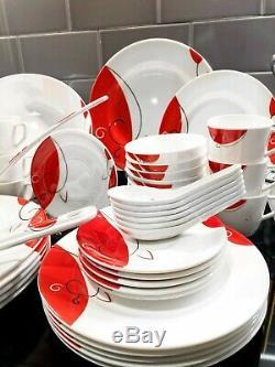 40 piece Melamine Dinner Set Tableware Dessert Soup Plate Bowl Home Outdoor
