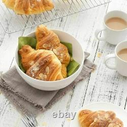 4 Edge white round Ceramic Stoneware Soup & Cereal Bowl 15CM, BIG SIZE