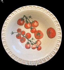 4 Williams Sonoma Italy Vegetable Design Piecrust Rim Pasta Salad Bowls 9.25