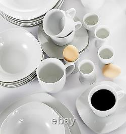 50-Pieces Complete Dinner Set Porcelain Crockery Dining for 6 Plates Bowls Cups