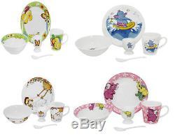 5 Pcs Kids Breakfast Set Ceramic Plate Bowl Mug Children Porcelain Dinner Cereal