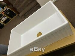 830x460x250m Single Bowl Belfast Style Ribbed Ceramic Kitchen Sink (derby)