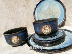 ASHBOAR Handmade Dining Set For Two, Dinner Plate, Side Plate, Bowls, Brown Blue
