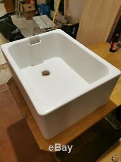 Abode Belfast 1 Bowl Ceramic Kitchen Sink White