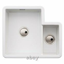 Abode Sandon 1.5B Ceramic Undermount Inset Sink White Left Handed One Half Bowl