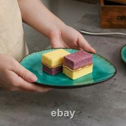 Aqua Blue Green 22pcs Dinner Set Stoneware Dish Dessert Plates Cereal Bowls NEW