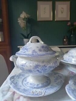 Asiatic pheasant Hancock Serving platter dish blue and white set vintage antique