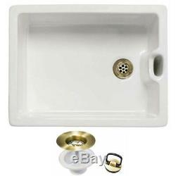 Astini Belfast 100 1.0 Bowl White Ceramic Kitchen Sink & Bronze Plug Waste