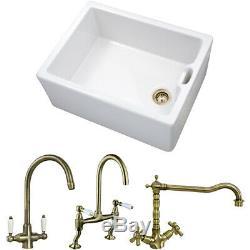 Astini Belfast 100 1.0 Bowl White Ceramic Kitchen Sink & Bronze Strainer Waste