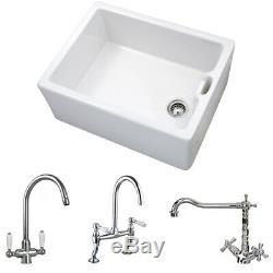 Astini Belfast 100 1.0 Bowl White Ceramic Kitchen Sink & Chrome Strainer Waste