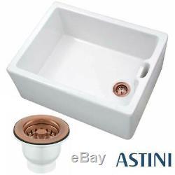 Astini Belfast 100 1.0 Bowl White Ceramic Kitchen Sink & Copper Strainer Waste