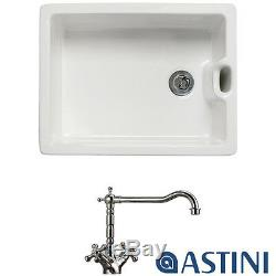 Astini Belfast 100 1.0 Bowl White Ceramic Kitchen Sink & Traditional 25411CH Tap