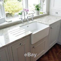 Astini Belfast 600 1.0 Bowl Gloss White Ceramic Butler Kitchen Sink & Waste