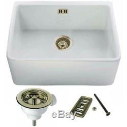 Astini Belfast 600 1.0 Bowl White Ceramic Kitchen Sink & Bronze Waste