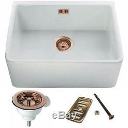 Astini Belfast 600 1.0 Bowl White Ceramic Kitchen Sink & Copper Waste