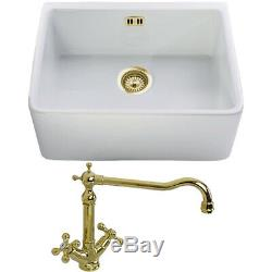 Astini Belfast 600 1.0 Bowl White Ceramic Kitchen Sink & Gold Waste