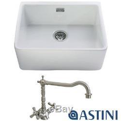 Astini Belfast 600 1.0 Bowl White Ceramic Kitchen Sink, Waste & Tap