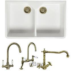 Astini Belfast 800 2.0 Bowl White Ceramic Kitchen Sink & Bronze Waste