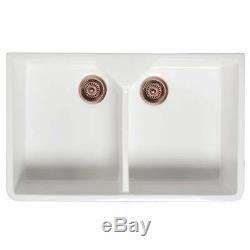 Astini Belfast 800 2.0 Bowl White Ceramic Kitchen Sink & Copper Waste