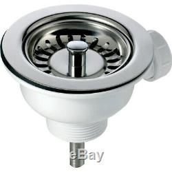 Astini Canterbury 100 1.0 Bowl Gloss White Ceramic Kitchen Sink & Chrome Waste