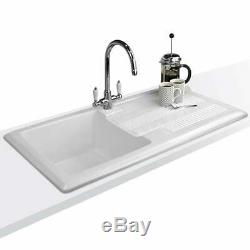Astini Canterbury 100 1.0 Bowl Gloss White Ceramic Kitchen Sink & Copper Waste