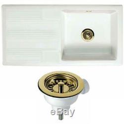 Astini Canterbury 100 1.0 Bowl Gloss White Ceramic Kitchen Sink & Gold Waste