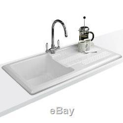 Astini Canterbury 100 1.0 Bowl Gloss White Ceramic Kitchen Sink & Waste