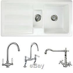 Astini Canterbury 150 1.5 Bowl Gloss White Ceramic Kitchen Sink & Chrome Waste