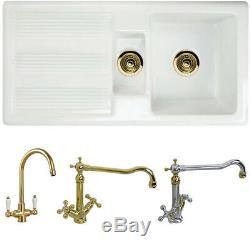 Astini Canterbury 150 1.5 Bowl Gloss White Ceramic Kitchen Sink & Gold Waste