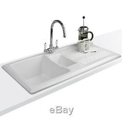 Astini Canterbury 150 1.5 Bowl Gloss White Ceramic Kitchen Sink, Waste & Tap