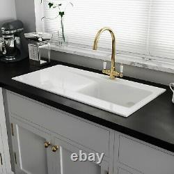 Astini Desire 100 1.0 Bowl Gloss White Ceramic Kitchen Sink & Gold Waste